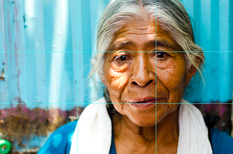 Mexican woman with grid showing thirds