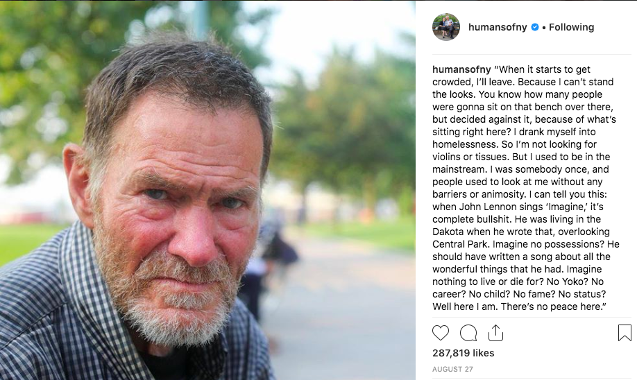 @HumansofNY Instagram post and detailed caption