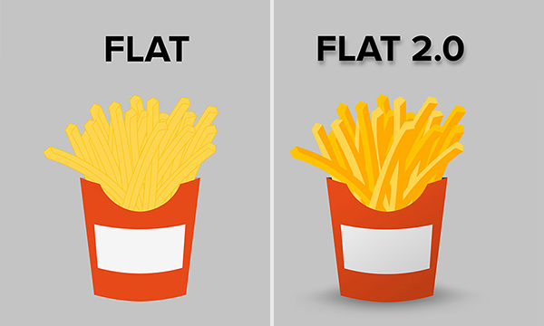 french fry icon in flat vs. flat 2.0